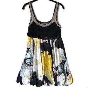 Arden B. Yellow Black Floral/Lace sleeveless dress